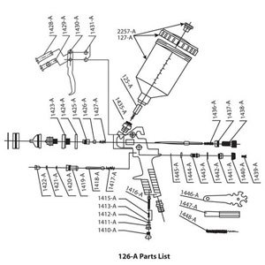 Parts for .6 Liter Touch Up Spray Gun